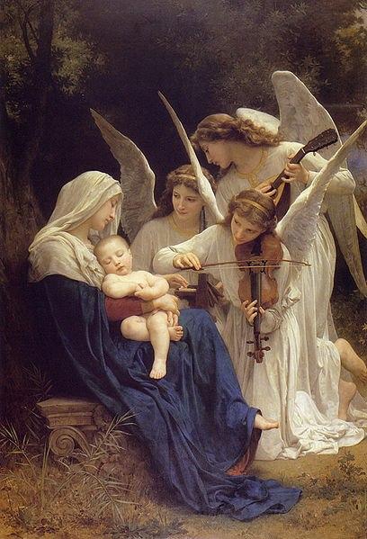 Entonces, muchos ángeles empezaron a cantar las canciones de alabanza a Dios acerca del nacimiento de Jesús.