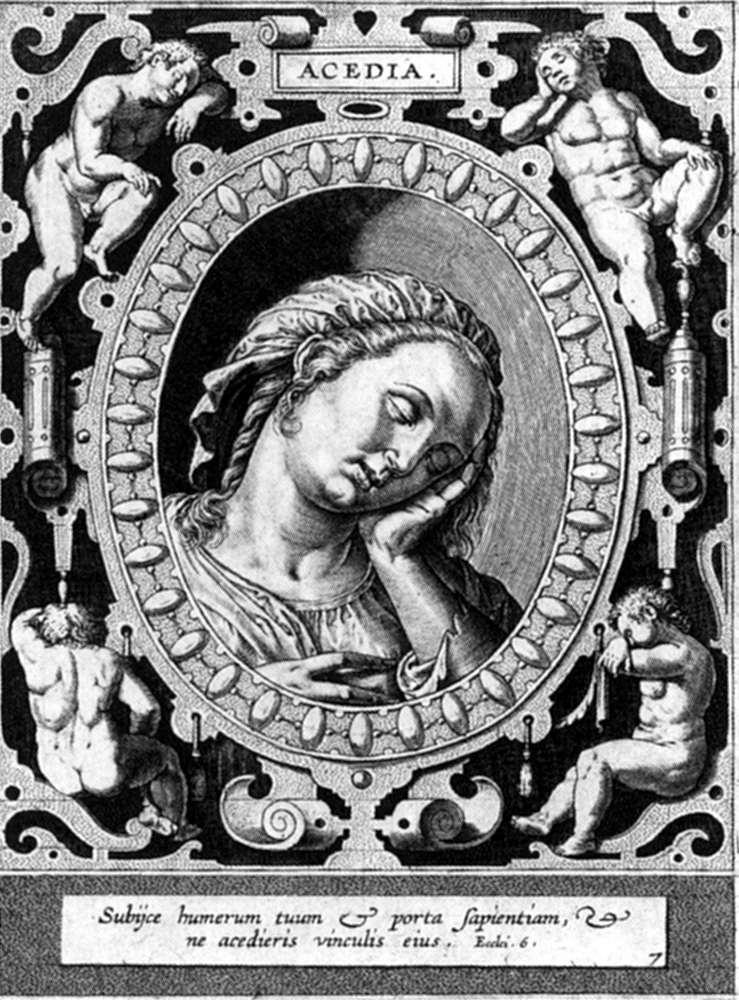 Acedia, grabado por Hieronymus Wierix, siglo 16.